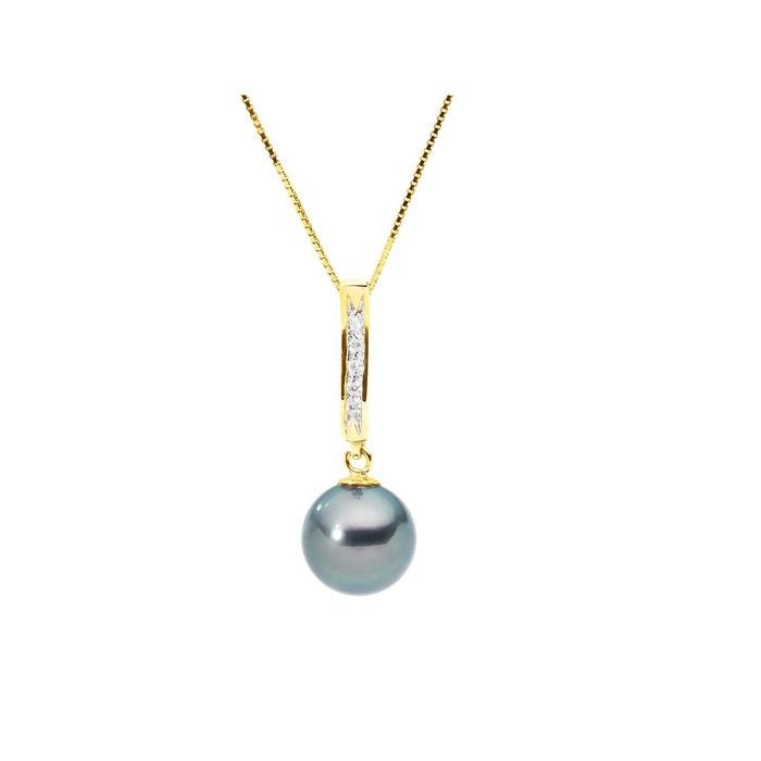 Collier joaillerie diamant & véritable perle de tahiti noir Perlinstinct | La Redoute Collections De Sortie Commercialisable À Vendre pKOd860yi