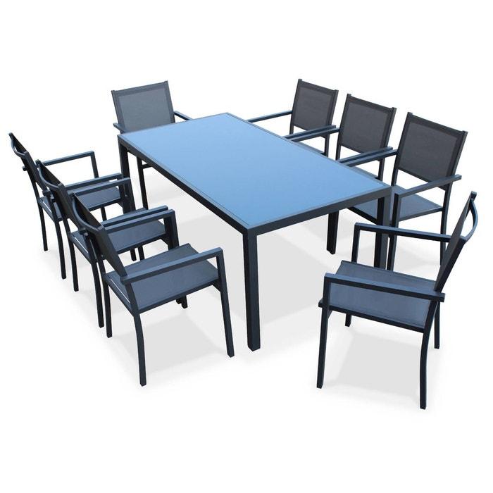 Salon de jardin aluminium table 180cm 8 fauteuils en - La redoute salon de jardin ...