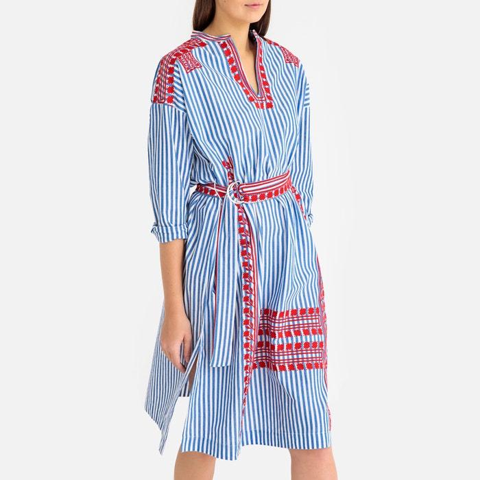 2386a19c8255c2 Gestreepte jurk met tuniekhals jackie dress gestreept blauw Antik Batik