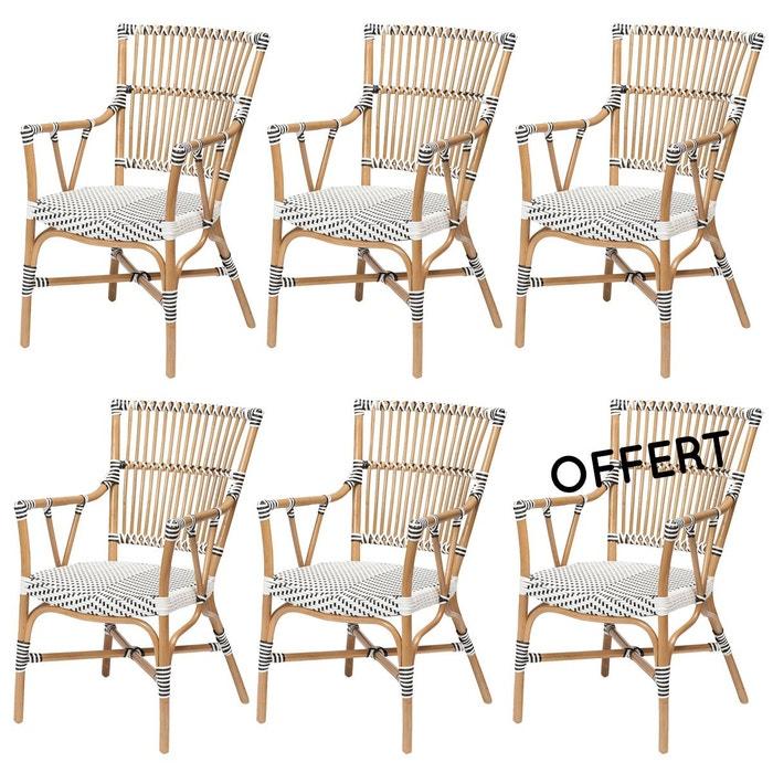 Lot 6 fauteuils vigo rotin et r sine blanc rotin design la redoute - La redoute fauteuil rotin ...