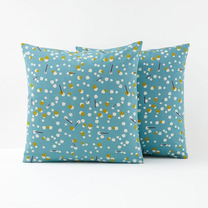 taie oreiller imprim e pois qanik bleu c ladon la. Black Bedroom Furniture Sets. Home Design Ideas