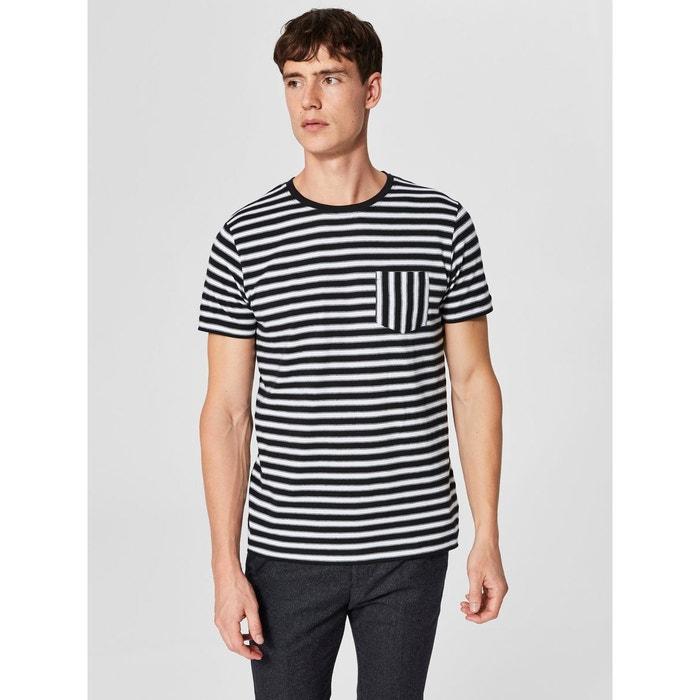fd622e1f095 T-shirt à rayures - noir-bright white Selected Homme