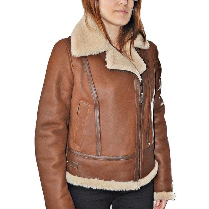 8bbf0863b026f Blouson cuir peau lainée mouton retourné noir Fashion Cuir   La Redoute