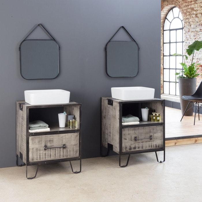 Meuble salle de bain industriel gris - petit modèle | IF664