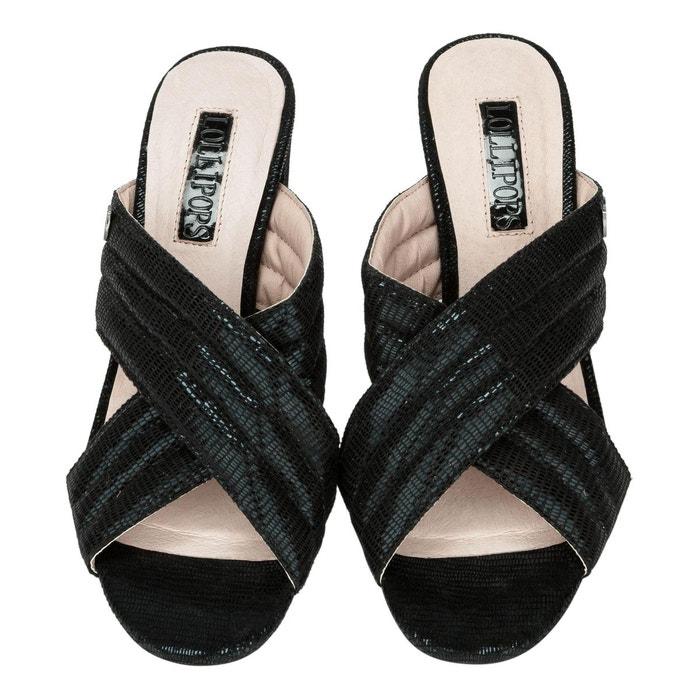 Sandales mules métallisés noir Lollipops