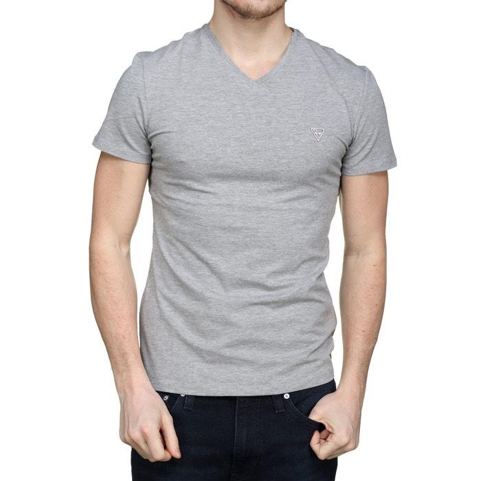 ac1a9e99609 Tee shirt col v gris Guess