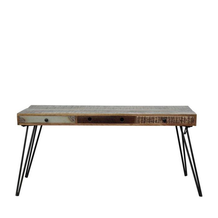 bureau vintage en bois 3 tiroirs fusion bois m tal drawer la redoute. Black Bedroom Furniture Sets. Home Design Ideas