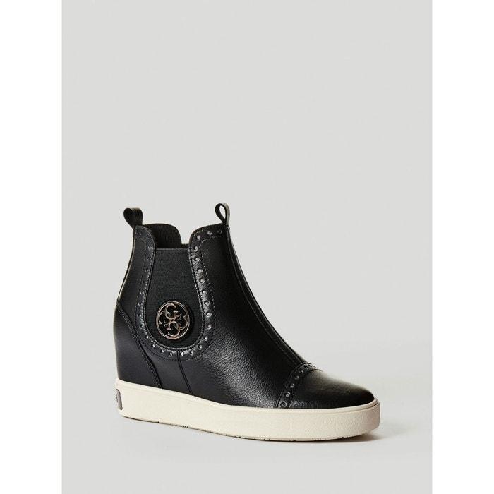 Sneaker compensee freddie en cuir noir Guess Vente À Bas Coût La Vente En Ligne Officielle 7e4Dja