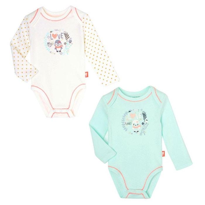 Lot de 2 bodies manches longues bébé fille love planet bleu Petit Beguin  28307e0d710