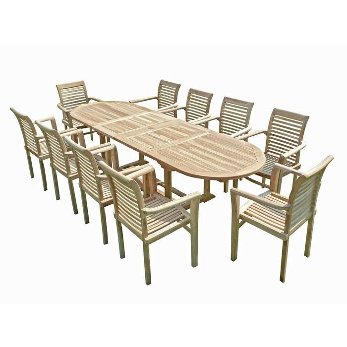 Ensemble salon de jardin en teck henua 10 fauteuils empilables ...