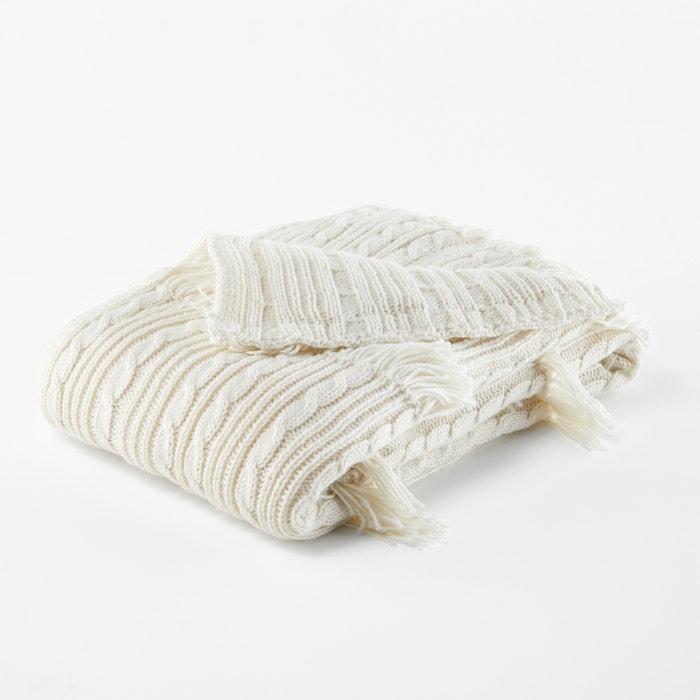 plaid en tricot franges lopik cru la redoute. Black Bedroom Furniture Sets. Home Design Ideas