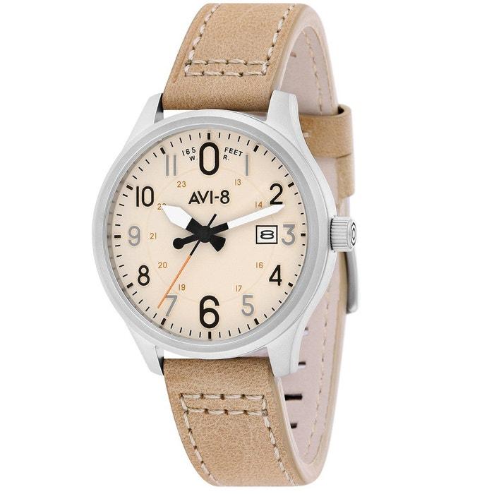 Montre analogique bracelet cuir véritable hawker hurricane Avi Manchester ZaluyQ8