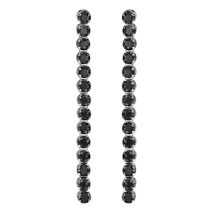 Prix Le Moins Cher Rabais Boucles d'oreilles pendant oxyde de zirconium noir argent 925 couleur unique So Chic Bijoux | La Redoute Officiel De Sortie Prix Discount rsI8Y
