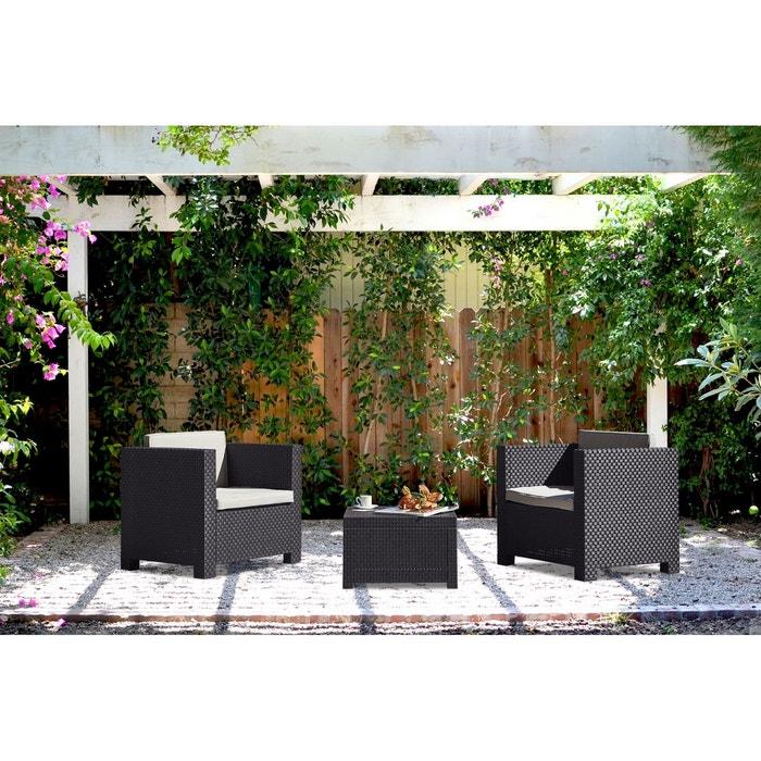 Ankara salon de jardin 2 places effet r sine tress e gris gris concept usine la redoute for Salon de jardin la redoute