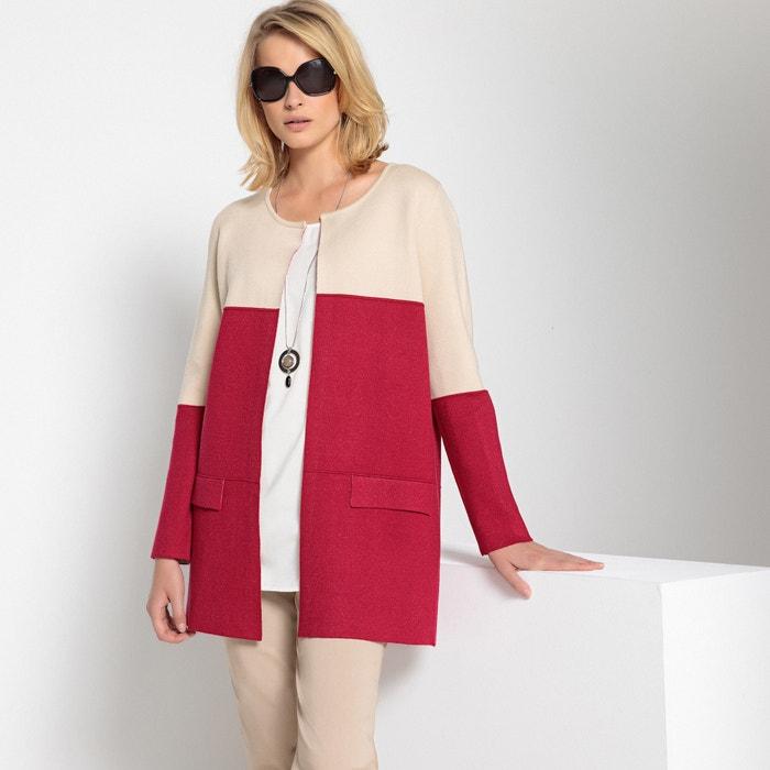 Long Two-Tone Round Neck Cardigan in Fine Gauge Knit  ANNE WEYBURN image 0
