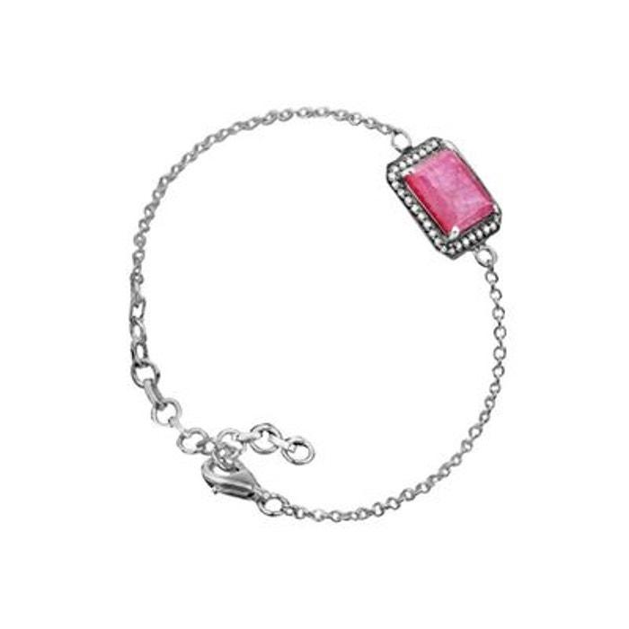 Bracelet chaîne en argent 925 passivé, rubis zoïsite, taille émeraude, 3.5g rose Canyon | La Redoute