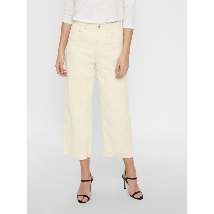 1b2db2dc9ed71 Pantalon taille haute velours côtelé blanc ecru Vero Moda | La Redoute
