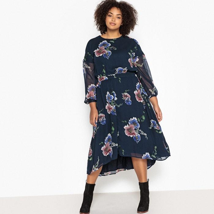 Платье длинное расклешенное с цветочным рисунком