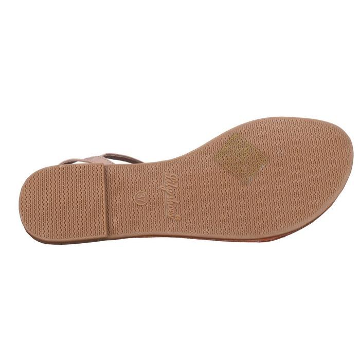 Sandales à lanières rose Leader Mode