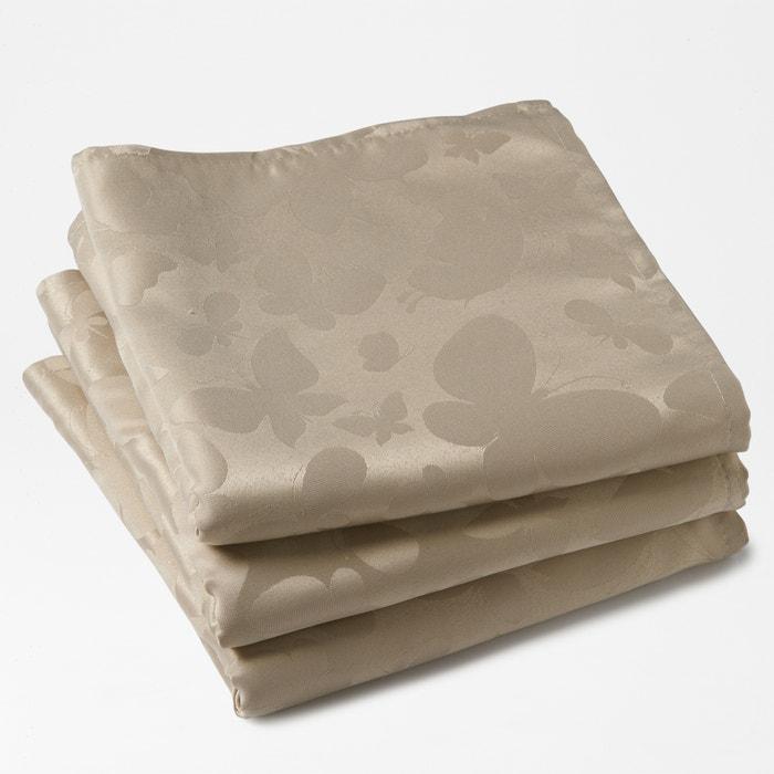 afbeelding Tafelservetten in jacquard, 100% polyester, (set van 3), vlinder motiefjes La Redoute Interieurs