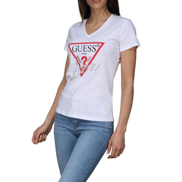 5297082015f6 Tee shirt col v blanc Guess
