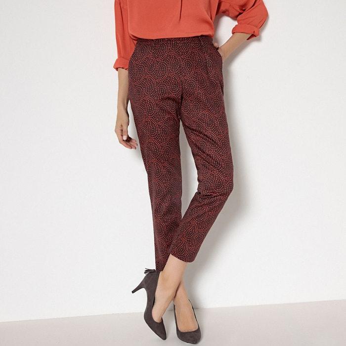Pantalon 7 8ème satin de coton stretch imprimé fond chocolat Anne Weyburn  43d53d7e4b3
