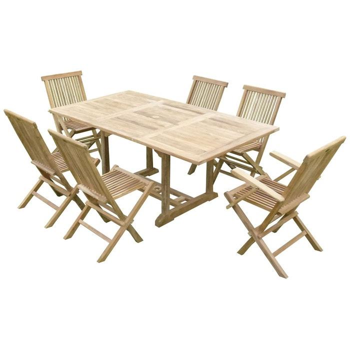 Ensemble salon de jardin en teck SUNANG 4 chaises 2 fauteuils JENAE