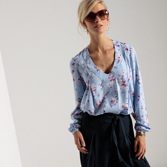Блузка с V-образным вырезом, длинными рукавами и принтом