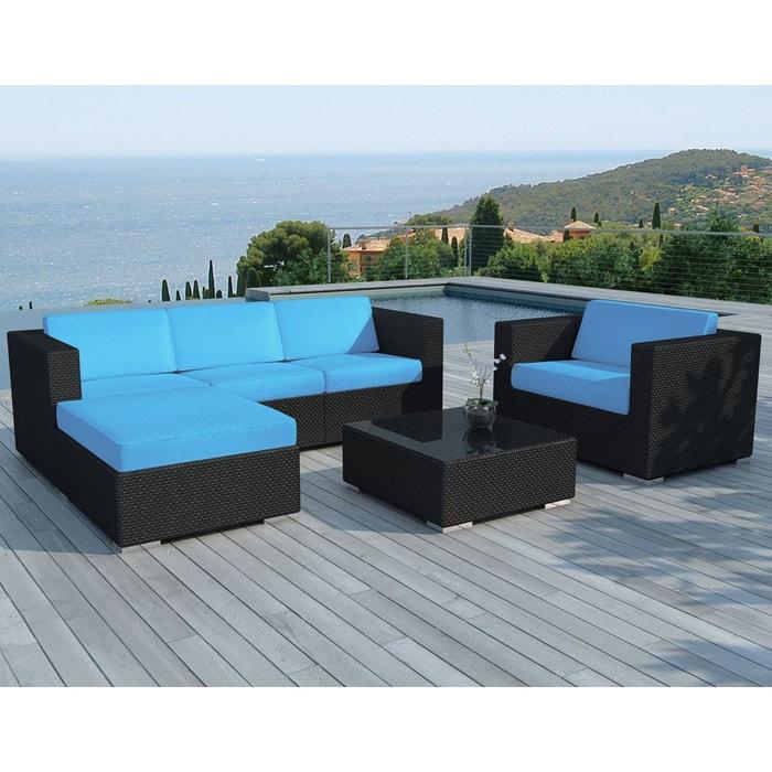 Salon de jardin copacabana 6 pièces en résine noire et coussins ...