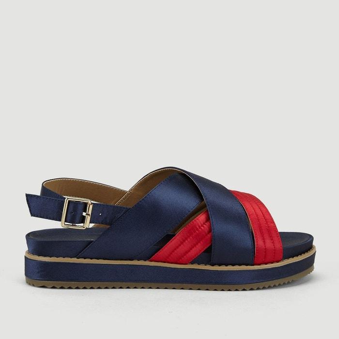 Sandales en satin bicolores
