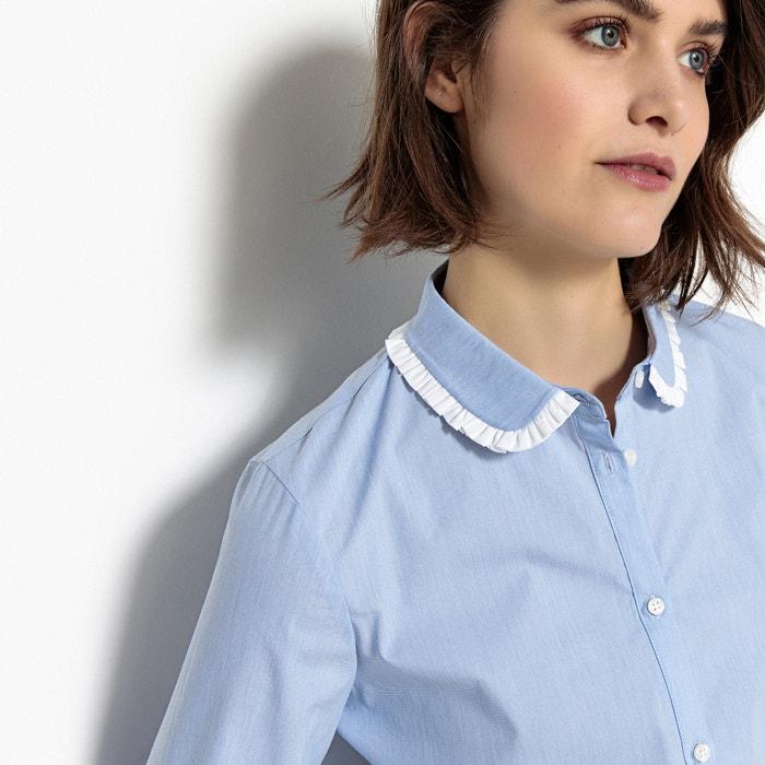 bluse mit bubikragen und kontrastfarbenen rmelabschl ssen hellblau mademoiselle r la redoute. Black Bedroom Furniture Sets. Home Design Ideas