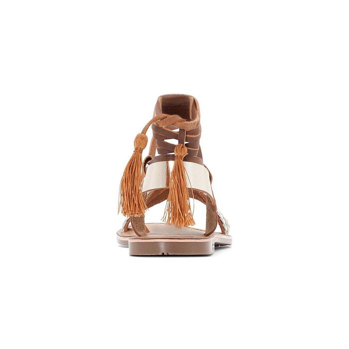 Sandales cuir lien cheville camel/doré La Redoute Collections