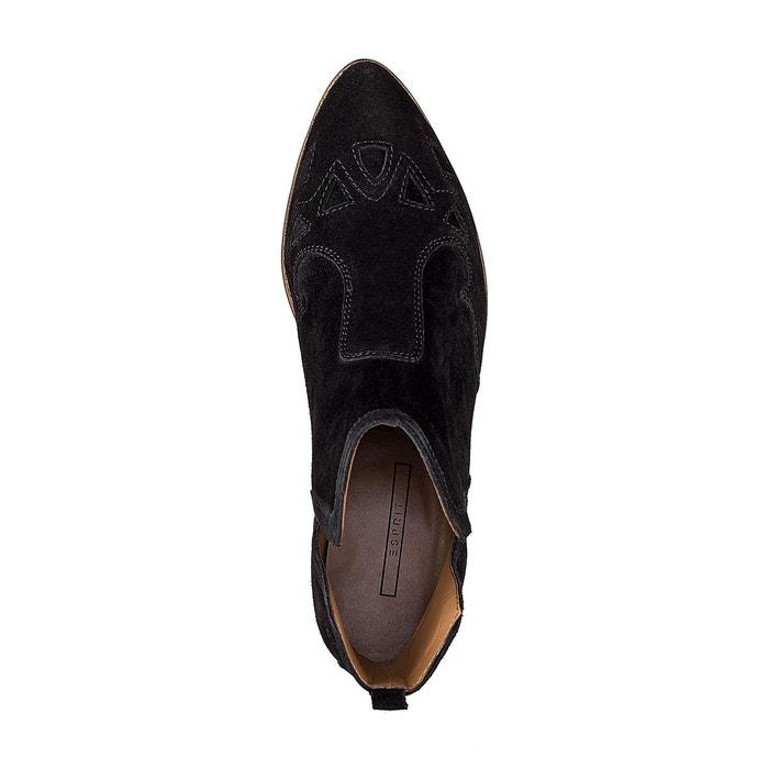 Bottines cuir noir Esprit