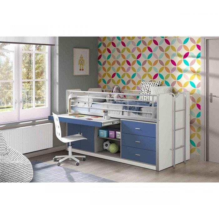 lit combin avec bureau bleu 90x200 terre de nuit bleu terre de nuit la redoute. Black Bedroom Furniture Sets. Home Design Ideas