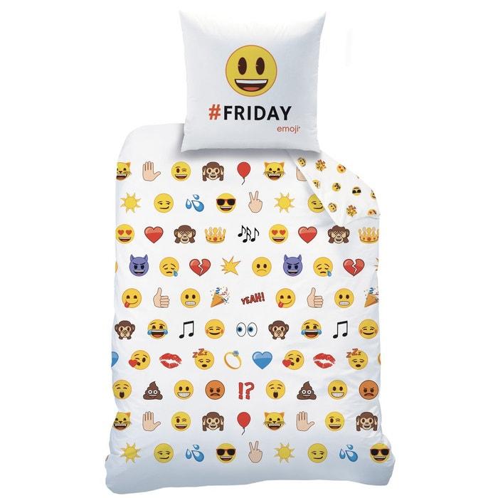housse de couette et taie d 39 oreiller emoji emotions polycoton blanc emoji la redoute. Black Bedroom Furniture Sets. Home Design Ideas