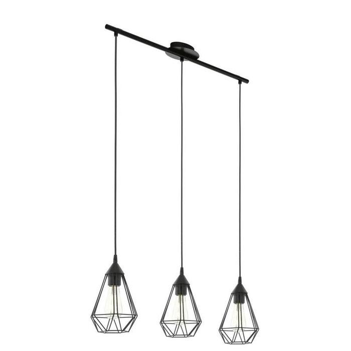 Tarbes suspension 3 lumi res m tal noir l79cm noir eglo lighting la redoute - Luminaire suspension grande taille ...