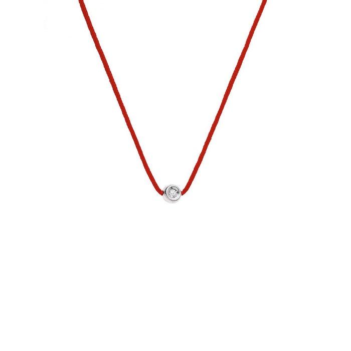 Prix Pas Cher Populaire Collier lien nylon tressé de couleur rouge orné d'un serti clos avec véritable diamant rouge Nova Diamonds   La Redoute réal 2018 Vente Pas Cher 4ATtK