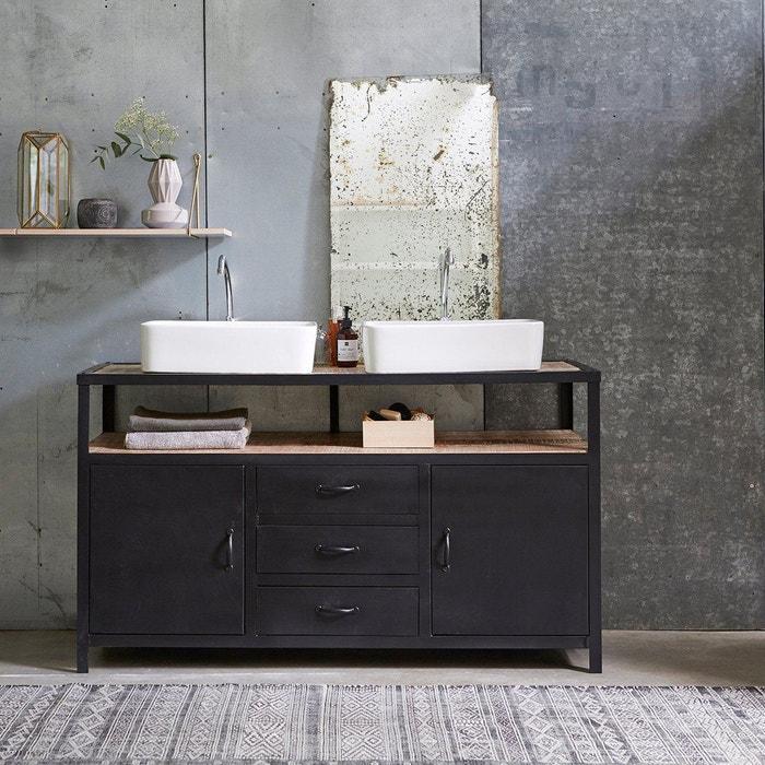 Meuble salle de bain en métal et bois de manguier 140 industriel ...