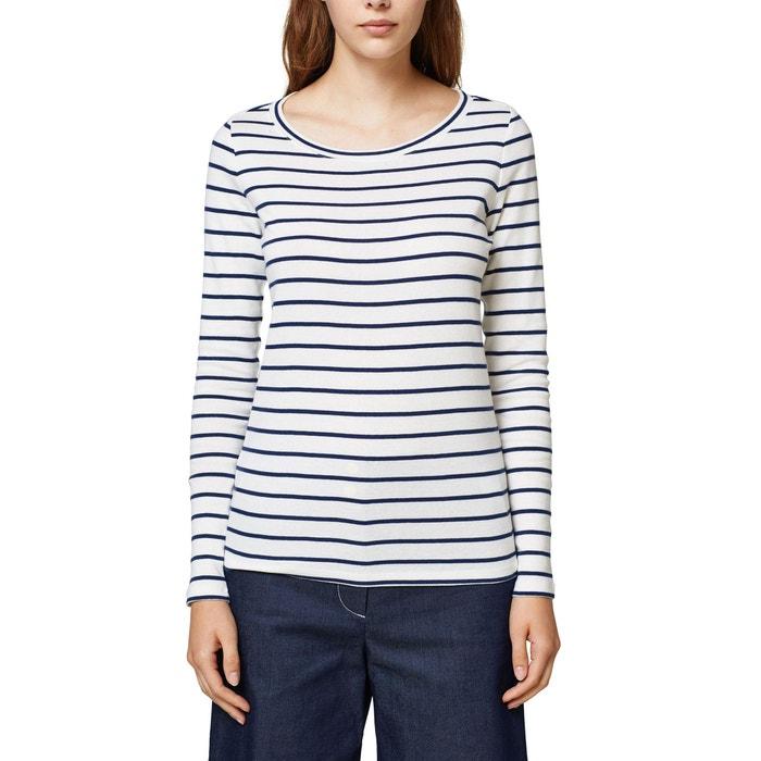 T-shirt scollo rotondo maniche lunghe a righe  ESPRIT image 0