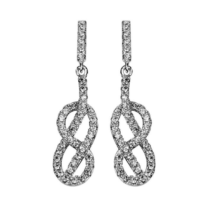 Boucles d'oreilles noeud marin oxyde de zirconium blanc argent 925 couleur unique So Chic Bijoux | La Redoute
