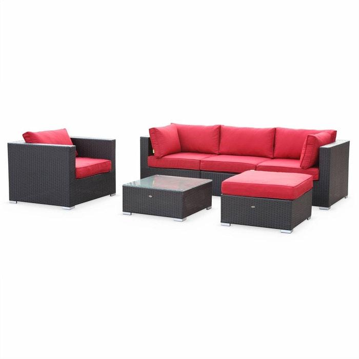 salon de jardin table en r sine tress e 5 places noir rouge caligari canap fauteuil noir rouge. Black Bedroom Furniture Sets. Home Design Ideas