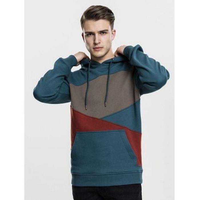 01440e0f922c3 Sweat capuche tricolore zig zag turquoise Urban Classics   La Redoute