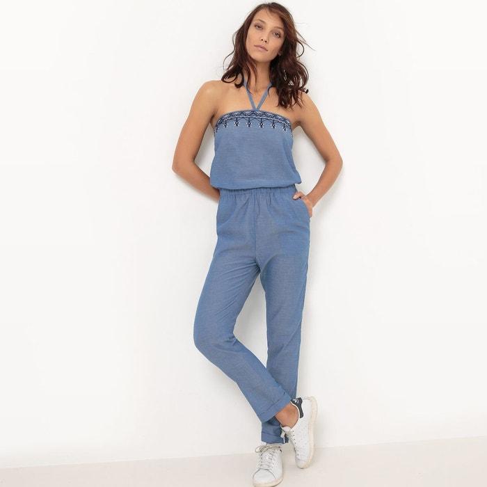combinaison pantalon bustier brod bleu la redoute collections la redoute. Black Bedroom Furniture Sets. Home Design Ideas