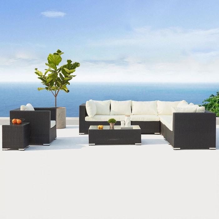 Salon de jardin panoramique résine tressée 8 places, solento noir ...