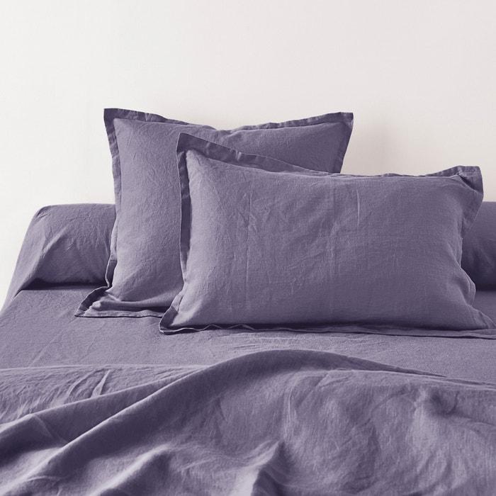 Plain Pure Washed Linen Single Pillowcase/Bolster Cover  La Redoute Interieurs image 0