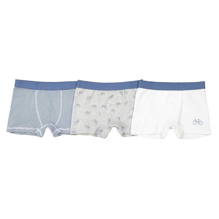 835719e8d1f7e Lot de 3 boxer imprimé ou uni oeko tex blanc + gris + rayé bleu La Redoute  Collections