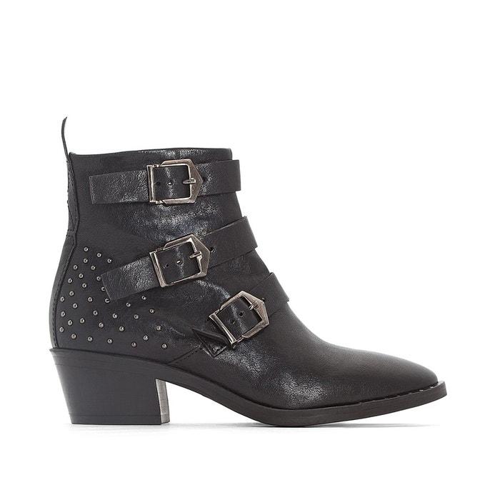 Boots cuir à boucles fresno noir Mjus L'offre De Vente Pas Cher f2BTPdS