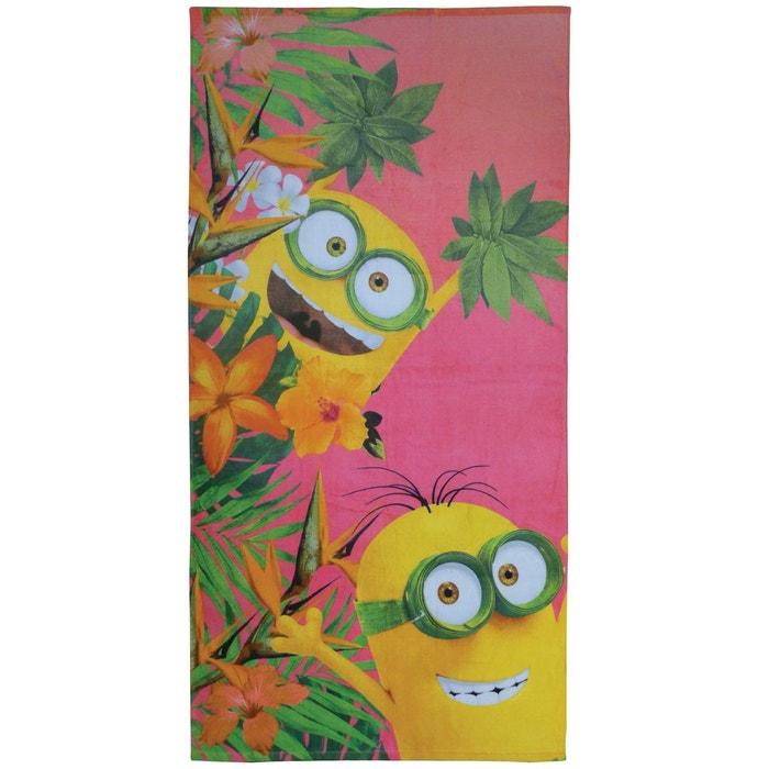 drap de plage les minions flowers 100 coton 360 g m 70x120cm corail les minions la redoute. Black Bedroom Furniture Sets. Home Design Ideas