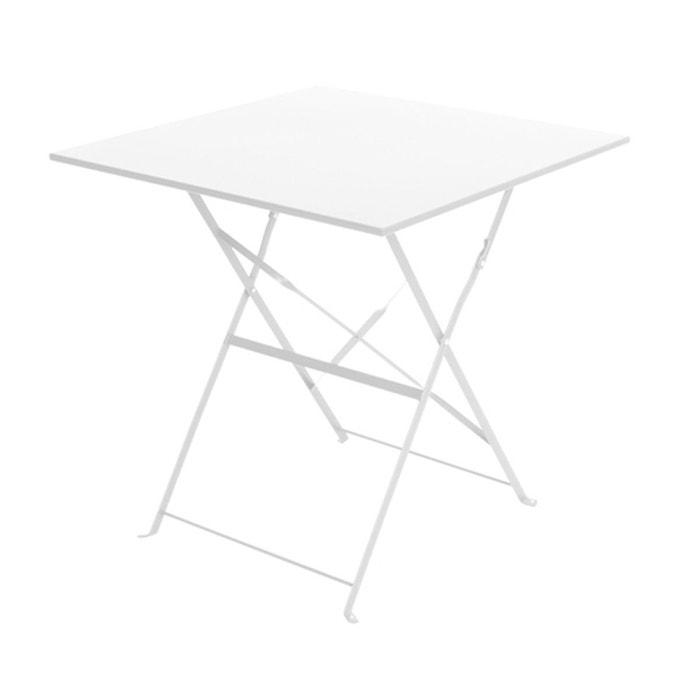 Table de jardin camargue m tal petit mod le blanc for Table de jardin la redoute