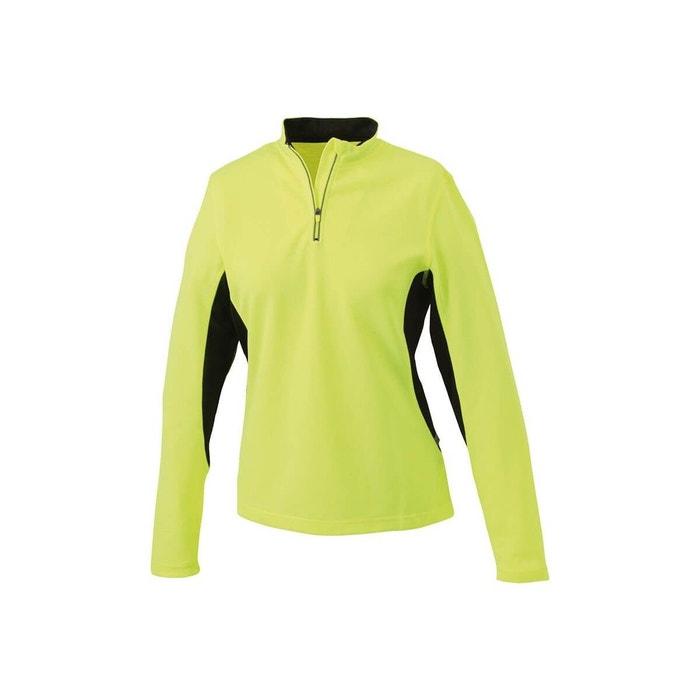 Tee-shirt technique manches longues jaune fluo noir Jn  068c2b87869